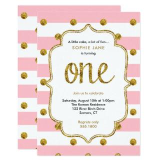 De roze en Gouden Eerste Verjaardag schittert 12,7x17,8 Uitnodiging Kaart