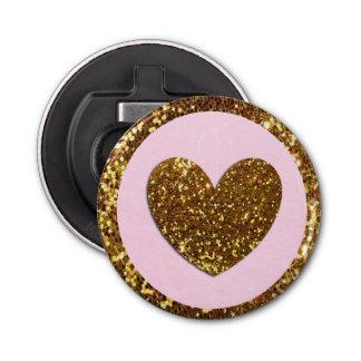 De roze en Gouden Flesopener van het Hart Button Flesopener