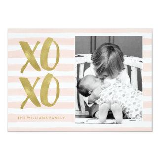 De roze en Gouden Foto van de Valentijnsdag XOXO 12,7x17,8 Uitnodiging Kaart