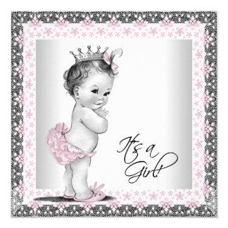 De roze en Grijze Vintage Douche van het Meisje 13,3x13,3 Vierkante Uitnodiging Kaart
