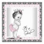 De roze en Grijze Vintage Douche van het Meisje Persoonlijke Uitnodigingen