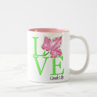 De roze en Groene Mok van het Leven van de Liefde