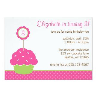 De roze en Groene Partij van de Verjaardag van de 12,7x17,8 Uitnodiging Kaart