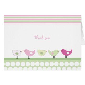 De roze en Groene Vogels danken u nota nemen van Briefkaarten 0