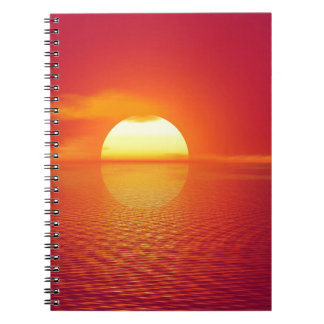 De roze en Oranje Zonsondergang van Indische Ringband Notitieboek