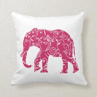 De roze en witte olifant werpt hoofdkussen sierkussen