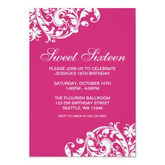 De roze en Witte Werveling bloeit Zoete Verjaardag 12,7x17,8 Uitnodiging Kaart