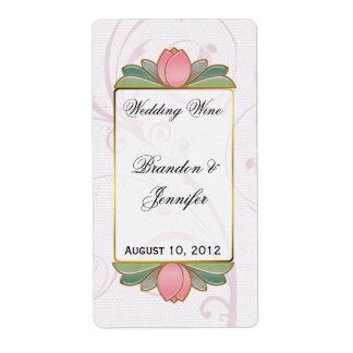 De roze Etiketten van de Wijn van het Huwelijk van