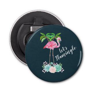 De roze Flamingo & de Palmen laten we Flamingle Button Flesopener