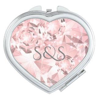 De roze Fonkeling van de Diamant op Lichte Makeup Spiegeltje