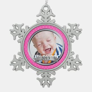 De roze Foto van de Familie van de Stip Tin Sneeuwvlok Ornament