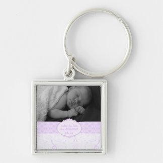 De roze Foto van het Baby van het Kant Swirly Sleutelhanger