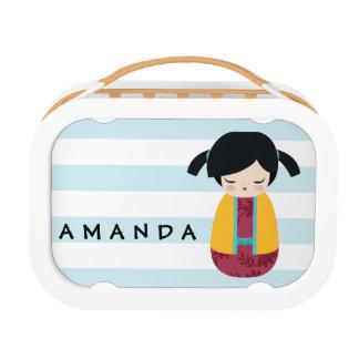 De ROZE GELE Leuke Japanse Geisha van Doll Kokeshi Lunchbox