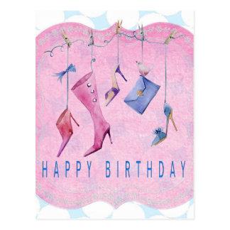 De roze Gelukkige Verjaardag van Schoenen Briefkaart