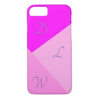 De roze Geometrische Initialen van | iPhone 8/7 Hoesje