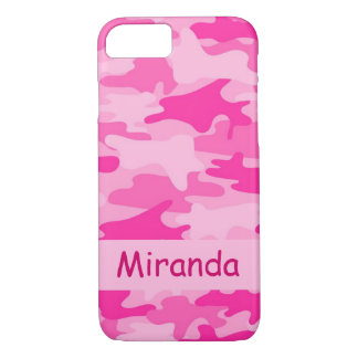 De roze Gepersonaliseerde Naam van de Camouflage iPhone 8/7 Hoesje