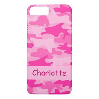 De roze Gepersonaliseerde Naam van de Camouflage iPhone 8/7 Plus Hoesje