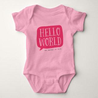 De roze Gepersonaliseerde Naam van Hello Wereld Romper