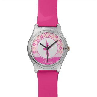 De roze Geruite Dans van Diamanten met Monogram Horloge