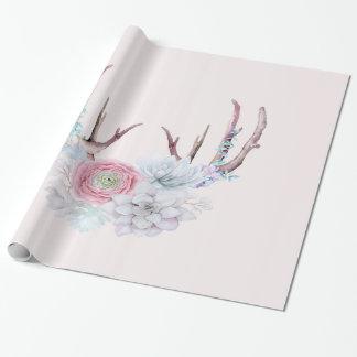 De roze Geweitakken van Herten bloeit Succulente Inpakpapier