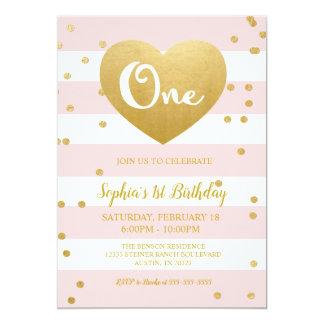 De roze & Gouden 1st Uitnodiging van de Verjaardag