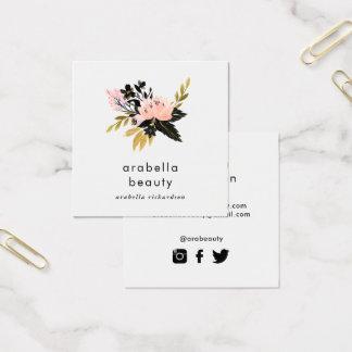De roze Gouden en Zwarte Bloemen | Sociale Vierkante Visitekaartjes