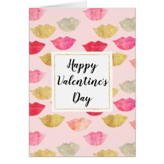 De roze Gouden Rode Valentijnsdag van de Lippen Briefkaarten 0