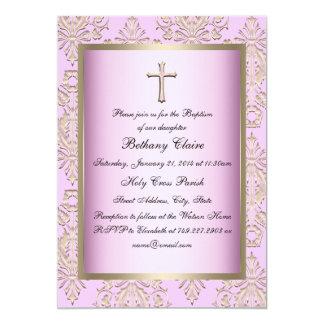 De roze & Gouden Uitnodiging van het Doopsel van