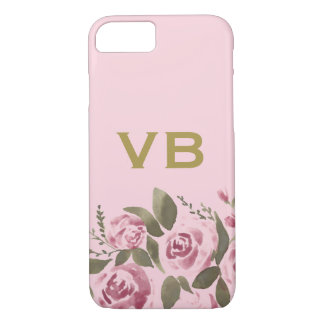 De roze Gouden Waterverf Bloemen nam toe iPhone 8/7 Hoesje