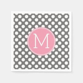 De Roze & Grijze Stippen van de pastelkleur met Papieren Servetten