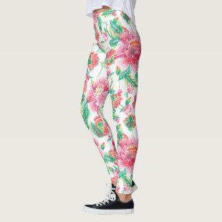 De roze Groene Bloemen doorbladert Patroon Leggings
