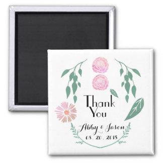 De roze Groene BloemenGunst van het Huwelijk dankt Vierkante Magneet