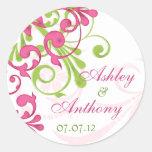 De roze Groene Witte Abstracte BloemenStickers van Ronde Sticker