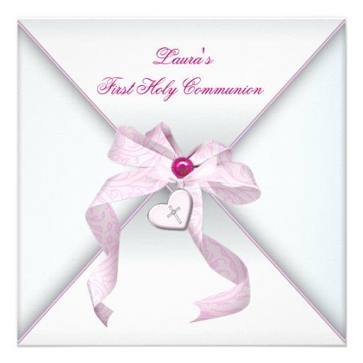 De roze Heilige Communie van de Meisjes van het Ha Gepersonaliseerde Uitnodiging