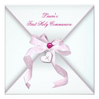 De roze Heilige Communie van de Meisjes van het Gepersonaliseerde Uitnodiging