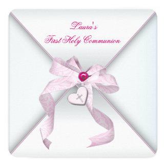 De roze Heilige Communie van de Meisjes van het 13,3x13,3 Vierkante Uitnodiging Kaart