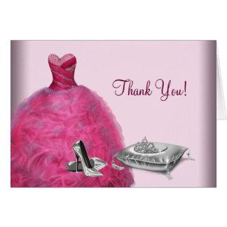 De roze Hoge Toga van de Bal hielt Tiara dankt u Briefkaarten 0