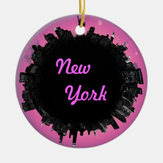 De roze horizon van New York Rond Keramisch Ornament