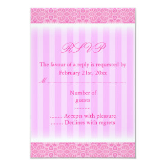 De roze Kaart RSVP van de Streep Sweet16 8,9x12,7 Uitnodiging Kaart