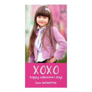 De roze Kaart van de Foto van XOXO Valentijn Gepersonaliseerde Fotokaarten