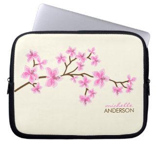 De roze Kers komt Boom tot bloei Laptop Sleeve