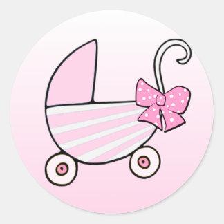 De Roze Kinderwagen van het Meisje van het baby Ronde Sticker