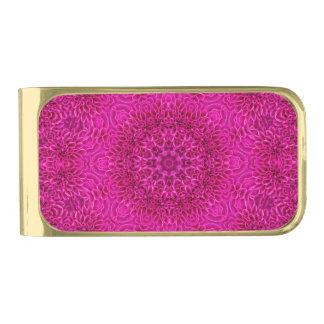 De roze Klemmen van het Geld van de Bloem, gouden Vergulde Geldclip