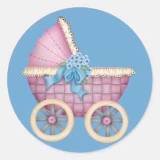 De Roze Kleur van de Wandelwagen/van het Vervoer Ronde Sticker