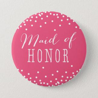 De roze Knoop van het Eerste bruidsmeisje van de Ronde Button 7,6 Cm