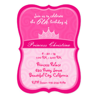 De roze Kroon van de Prinses beweegt Verjaardag 12,7x17,8 Uitnodiging Kaart