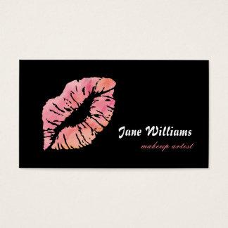 De roze Kunstenaar van de Make-up van Lippen Visitekaartjes