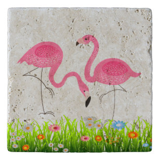 De roze Lente van Flamingo's bloeit Illustratie Trivet