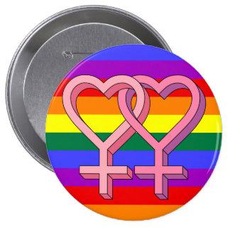De roze Lesbische Knoop van de Gelijkheid van het Ronde Button 4,0 Cm
