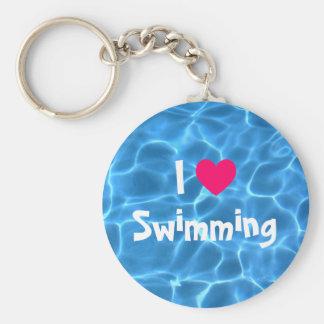 De roze Liefde die van I Blauw Zwembad zwemt Basic Ronde Button Sleutelhanger